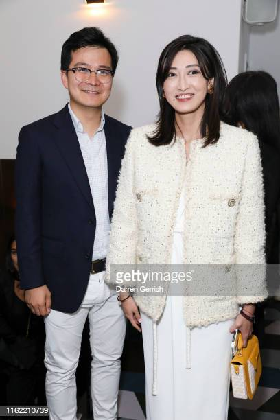 Qihao Shao and Jennifer Sun attend NOWNESS dinner to Celebrate China Wave at Duddell's on July 15 2019 in London United Kingdom