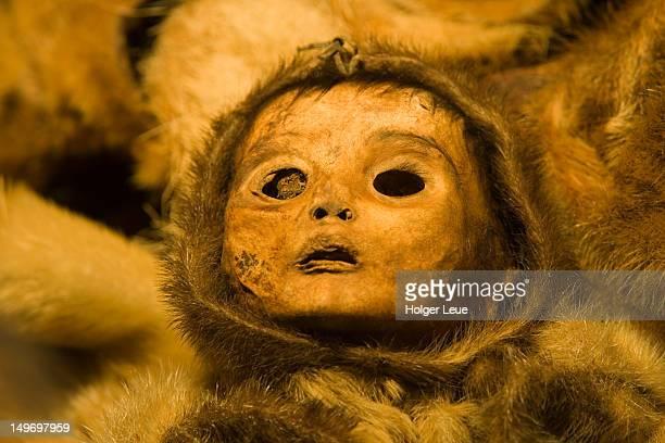 Qilakitsoq mummy child in Greenland National Museum.