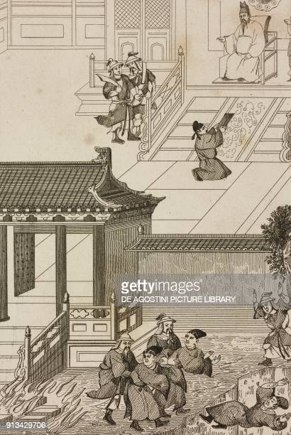 Qin Shi Huangdi burning all the books and throwing scholars into a pit China engraving from Chine ou Description historique geographique et...
