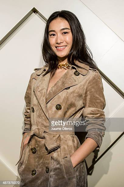 Qin Shupei wearing Burberry makeup at Art of the Trench event in Chengdu on October 17 2014 in Chengdu China