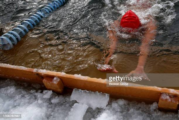 Qing Li of Chicago swims during the Winter Swim Festival at Lake Memphremagog in Newport, VT on Feb. 29, 2020. In waters cold enough to kill, 93...