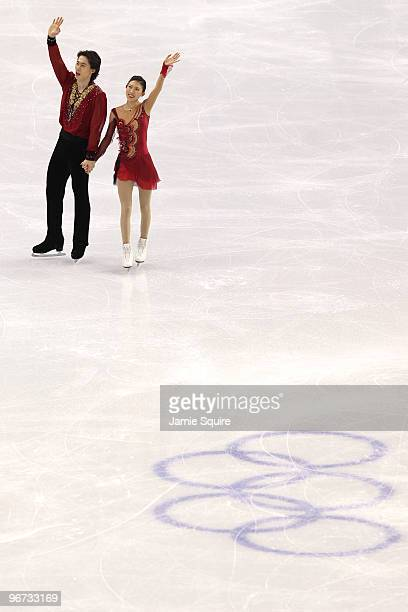 Qing Pang and Jian Tong of China wave after competing in the Figure Skating Pairs Free Program on day 4 of the Vancouver 2010 Winter Olympics at the...