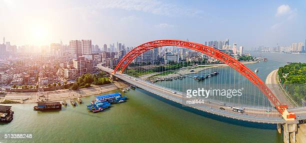qingchuan bridge in wuhan china - wuhan stock photos and pictures