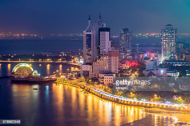 Qingdao Bay night aerial view scenery