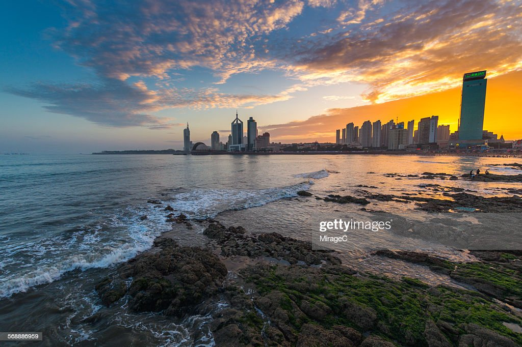Qingdao Bay Skyline Sunset Glow : Stock Photo