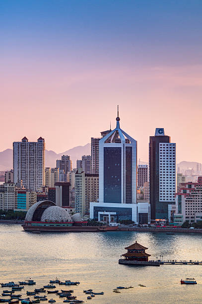 Qingdao Bay Sunset Scene Wall Art