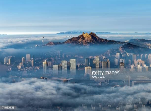 Qingdao city with mountain peak, Shandong, China