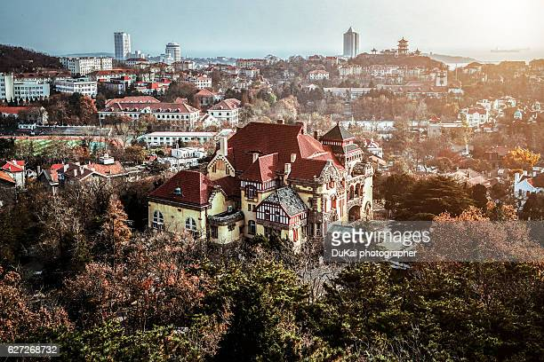 qingdao, colonial styled buildings - qingdao stock pictures, royalty-free photos & images