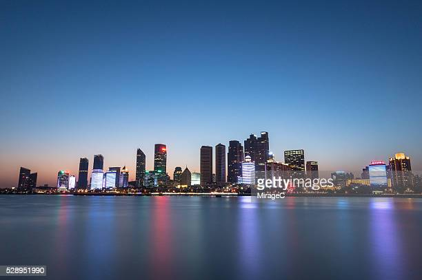 Qingdao Fushan Bay Skyline Night View, China.