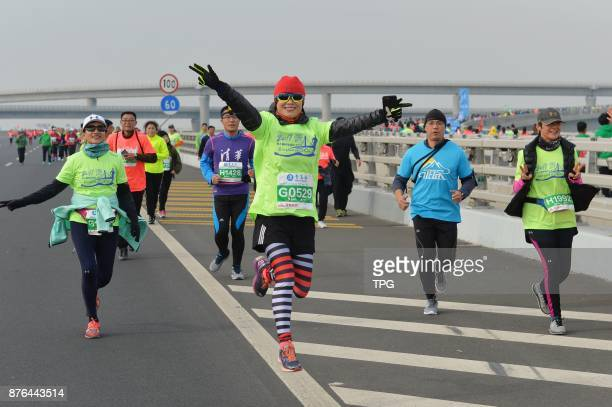 2017 Qingdao international sea marathon hold on Jiaozhou bay crosssea bridge on 19th November 2017 in Qingdao Shandong China