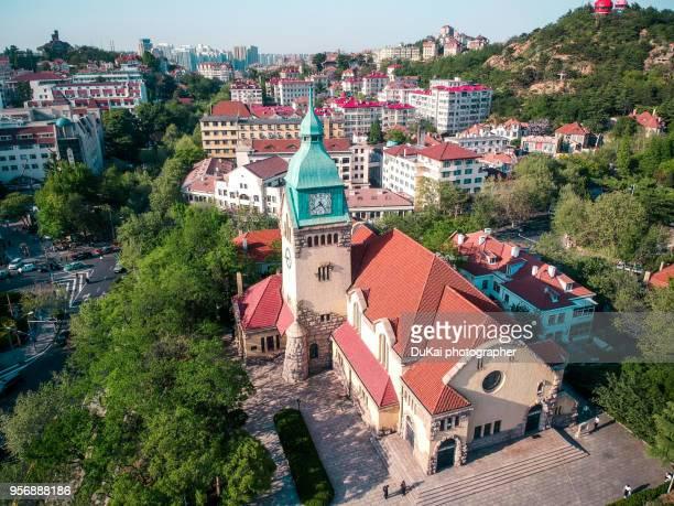qingdao, jiangsu road church china. - qingdao stock pictures, royalty-free photos & images