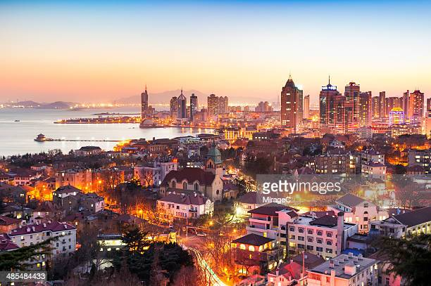 qingdao night scenery - miragec stock pictures, royalty-free photos & images