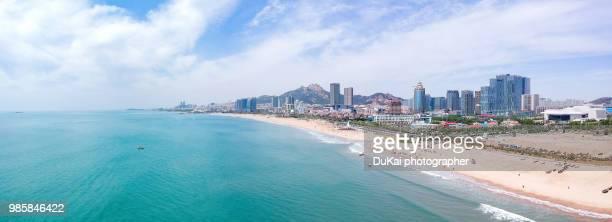 qingdao panoramic - qingdao beach stock pictures, royalty-free photos & images