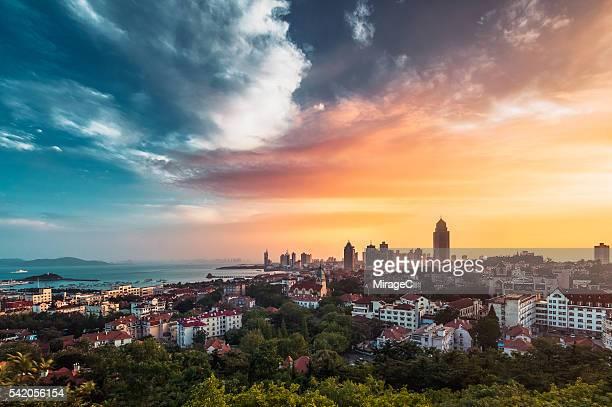 Qingdao Seashore Colorful Sunset Glow