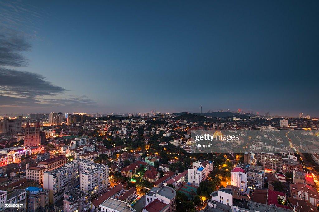 Qingdao West City Night Skyline : Stock Photo