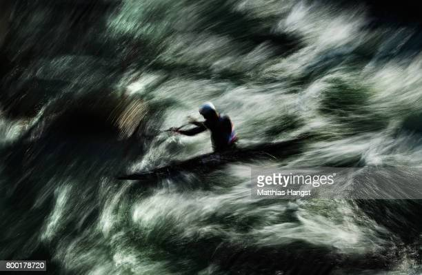Qinkang Ren of China competes during the Canoe Single Men's Qualification of the ICF Canoe Slalom World Cup on June 23 2017 in Augsburg Germany