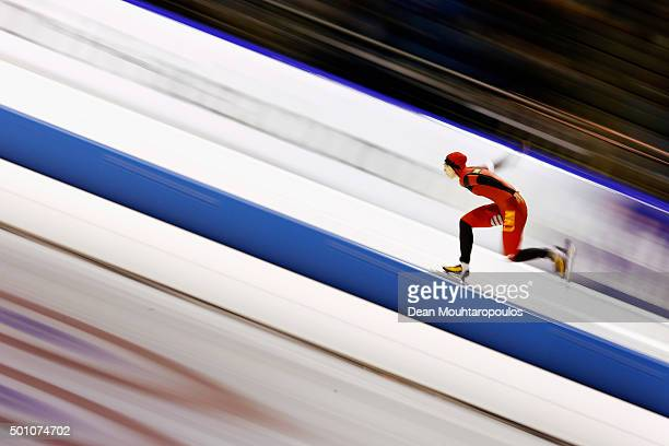 Qishi Li of China competes in the 1000m Ladies race during day two of the ISU World Cup Speed Skating held at Thialf Ice Arena on December 12 2015 in...