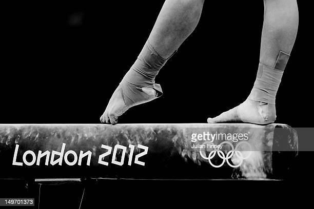 Qiushuang Huang of China competes on the balance beam in the Artistic Gymnastics Women's Individual AllAround final on Day 6 of the London 2012...