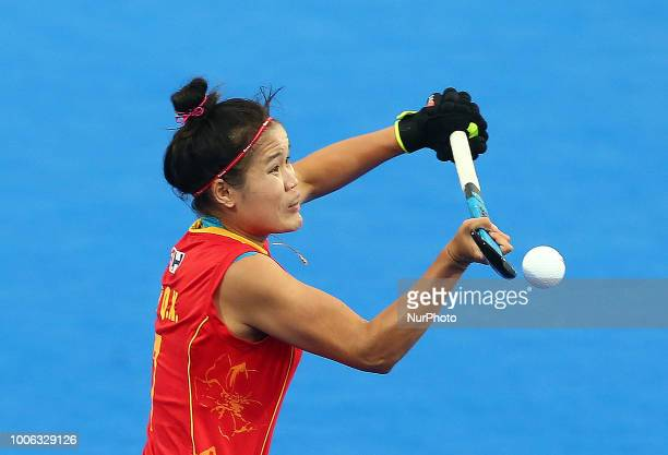 CUI Qiuxia of China in action during FIH Hockey Women's World Cup 2018 Day six match Pool A game 15 between China and Netherlands at Lee Valley...