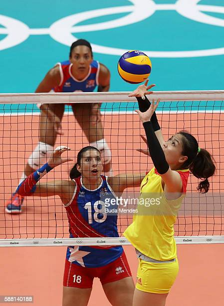 Qiuyue Wei of China in action during the women's qualifying volleyball match between the China and Puerto Rio on Day 5 of the Rio 2016 Olympic Games...