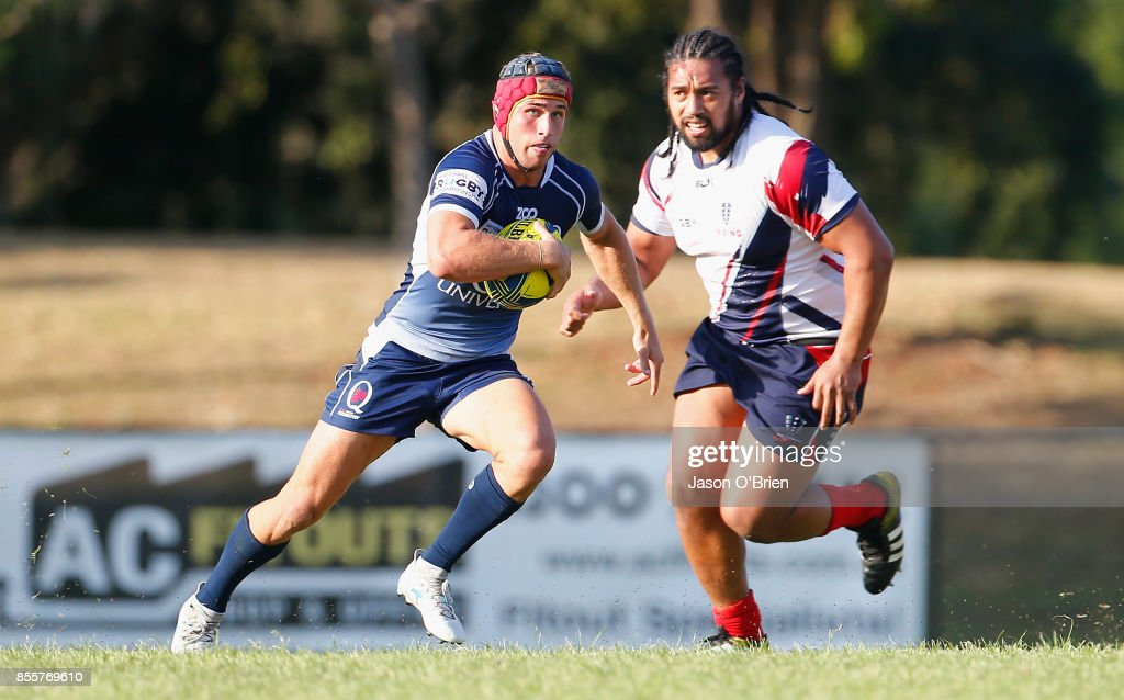 Qld Country's Hamish Stewart in action during the round five NRC match between Queensland Country and Melbourne at Bond University on September 30, 2017 in Brisbane, Australia.