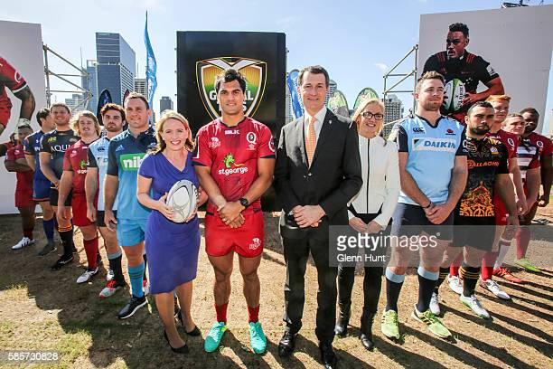 Qld Minister for Tourism and Major Events Kate Jones Reds Karmichael Hunt Brisbane Mayor Graham Quirk and Duco Events CEO Rachel Carroll with other...