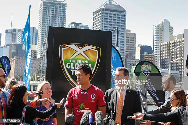 Qld Minister for Tourism and Major Events Kate Jones Reds Karmichael Hunt and Brisbane Mayor Graham Quirk with other players at the launch of the...