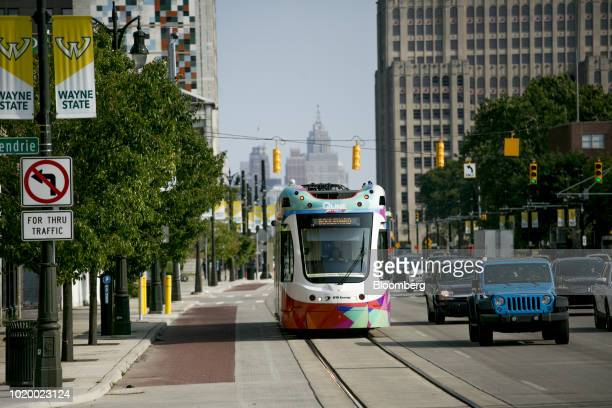 A QLine streetcar travels along Woodward Avenue in Detroit Michigan US on Tuesday Aug 14 2018 Detroit ranks in the top 7 percent for traffic...
