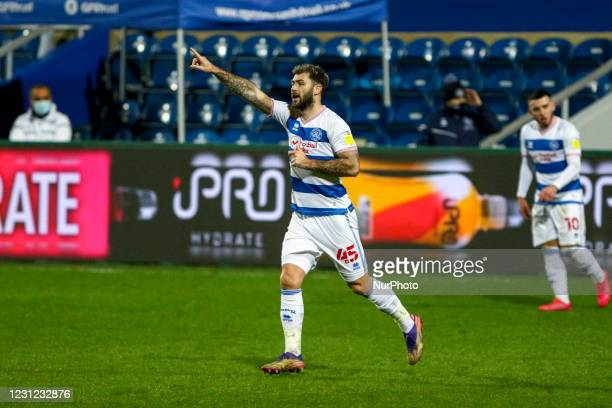 QPRs Charlie Austin celebrates his goal during the Sky Bet Championship match between Queens Park Rangers and Brentford at Loftus Road Stadium,...