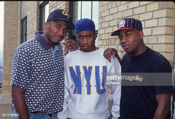 QTip Ali Shaeed Muhammad of the hip hop group 'A Tribe Called Quest' pose with Chuck D of 'Public Enemy' for a portrait session in 1992 in New York