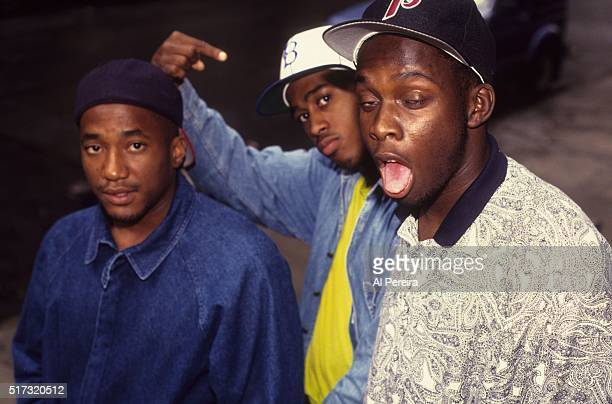 QTip Ali Shaheed Muhammad and Phife Dawg of the hip hop group 'A Tribe Called Quest' pose for a portrait session in July 1991 in New York