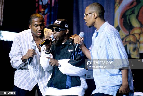Tip and Phife Dawg of A Tribe Called Quest performs as part of the Smokin Grooves Tour at Shoreline Amphitheatre on September 1 1996 in Mountain View...