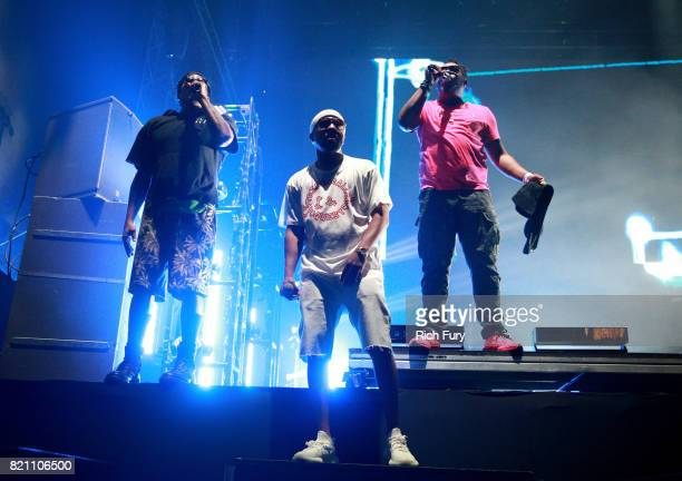 QTip Consequence and Jarobi White of A Tribe Called Quest perform onstage during day 2 of FYF Fest 2017 at Exposition Park on July 22 2017 in Los...