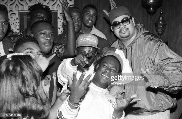 """Tip, Pfife Dawg, Jarobi White and Heavy D attend an album-release party for A Tribe Called Quest's """"The Low End Theory"""" on September 16, 1991 in New..."""
