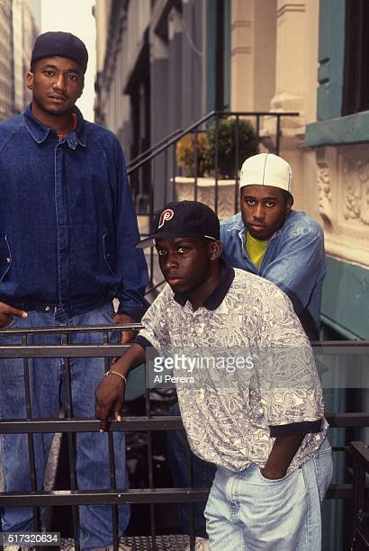 QTip Phife Dawg and Ali Shaheed Muhammad of the hip hop group 'A Tribe Called Quest' pose for a portrait session in July 1991 in New York