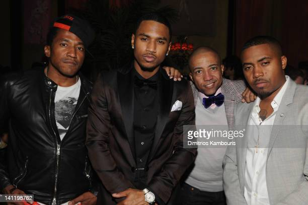 Tip Trey Songz Kevin Liles and Nas attend GQ And John Slattery Celebrate The Launch Of The April 2012 Issue at The Jane Hotel on March 12 2012 in New...