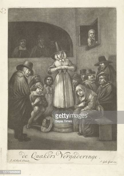 Quaakers' meeting, ca. 1656, A group of quakers in an interior. Some sit on couches and chairs others stand. In the middle of a barrel stands a woman...