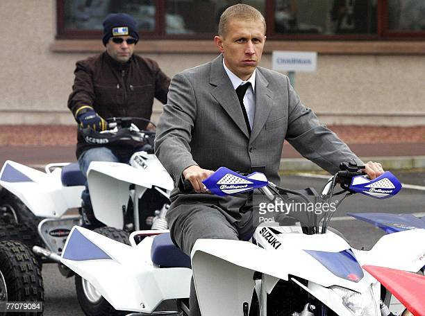 Quad bikers including Alister McRae form a guard of honour at the funeral of former quad bike champion Graeme Duncan on September 28 2007 in...