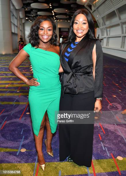 Quad Webb Lunceford and Monyetta Shaw attend 2018 Black Women's Expo at Georgia International Convention Center on August 11, 2018 in College Park,...