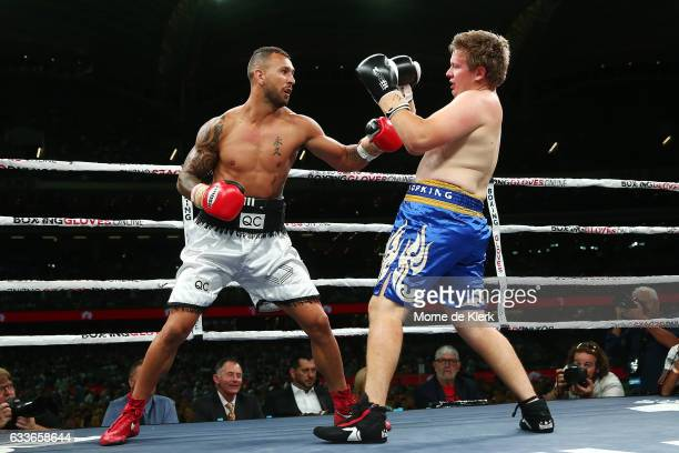 Quade Cooper and Jack McInnes fight during their heavyweight bout at Adelaide Oval on February 3 2017 in Adelaide Australia