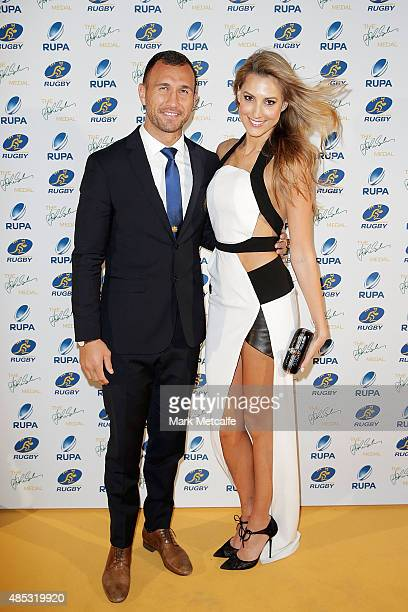 Quade Cooper and Laura Dundovic arrive at the John Eales Medal at Royal Randwick Racecourse on August 27 2015 in Sydney Australia