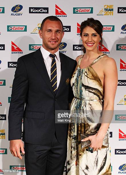 Quade Cooper and Stephanie Rice arrive at the 2011 John Eales Medal at Luna Park's Big Top on September 1 2011 in Sydney Australia