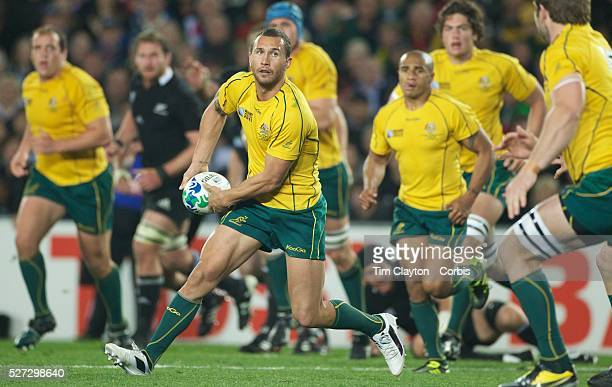 Quade Cooper Australia in action during the New Zealand V Australia Semi Final match at the IRB Rugby World Cup tournament Eden Park Auckland New...