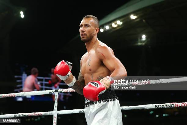 Quade Cooper competes during his heavyweight bout with Jack McInnes at Adelaide Oval on February 3 2017 in Adelaide Australia
