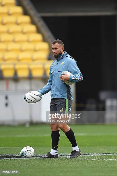 Quade Cooper during the Australia Wallabies Captain's Run at Westpac Stadium on August 26 2016 in Wellington New Zealand