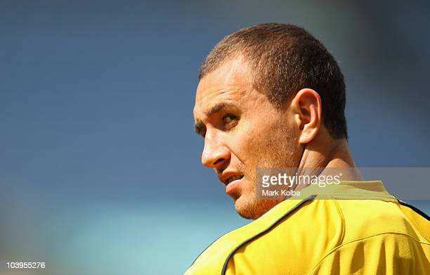 Quade Cooper looks over his shoulder during an Australian Wallabies Captain's Run at ANZ Stadium on September 10 2010 in Sydney Australia