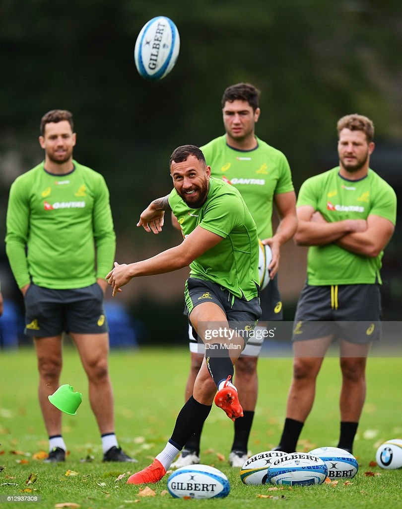 Quade Cooper of Australia kicks during an Australia media session at the Lensbury Hotel on October 6, 2016 in London, United Kingdom.