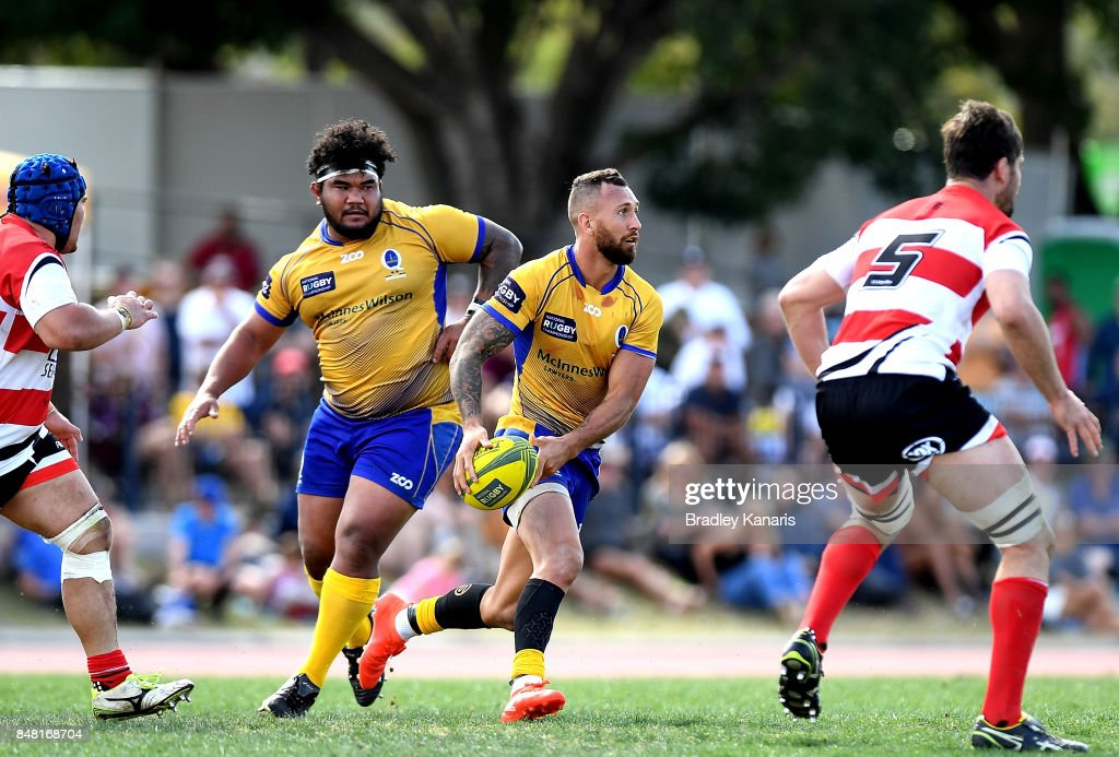 Quade Cooper of Brisbane City looks to pass during the round three NRC match between Brisbane and Canberra at the University of Queensland on September 17, 2017 in Brisbane, Australia.