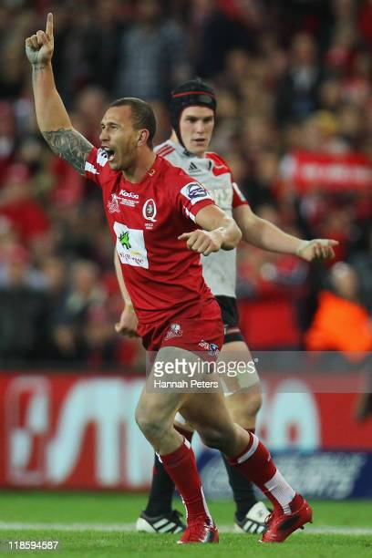 Quade Cooper of the Reds celebrates winning the 2011 Super Rugby Grand Final match between the Reds and the Crusaders at Suncorp Stadium on July 9...