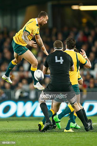 Quade Cooper of the Wallabies attempts to collect the high ball during The Rugby Championship Bledisloe Cup match between the New Zealand All Blacks...